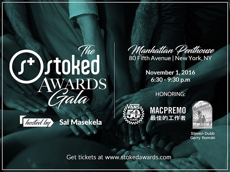 Get your tickets for the @stokedorg Awards Gala on November 1! Honoring @vans @arvernebythesea @macpremo and celebrating 11 years of our amazing mentors and students. Click on the link in our bio for your tix and more info!