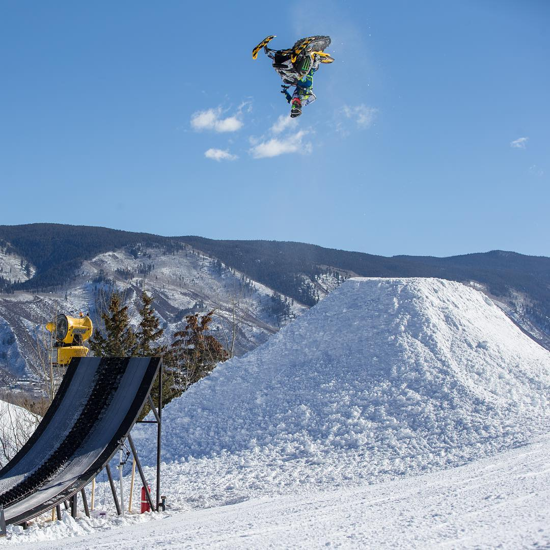 Three-time gold medalist @HeathFrisby will attempt to land the first snowmobile double backflip in history at #XGames Aspen! (