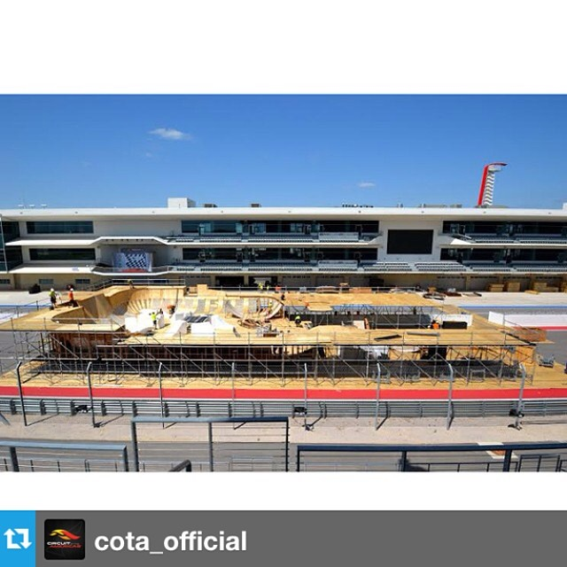 Progress shot from day three! Nice work from the @carampworks crew. Regram -> @cota_official  #xgamesaustin
