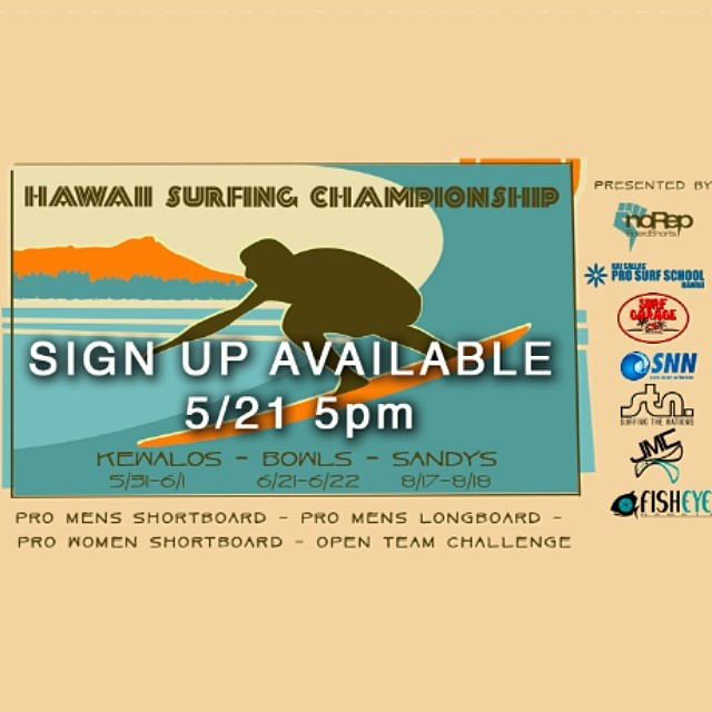 Hawaii Surfing Championship will be available for entry on Wednesday 21st at 5pm At www.hawaiisurfingchampionship.com First Come first serve // $125 entry fee - $25 goes to @surfingthenations - $100 goes to the pot * Pro Mens Shortboard (32 Spots) *...