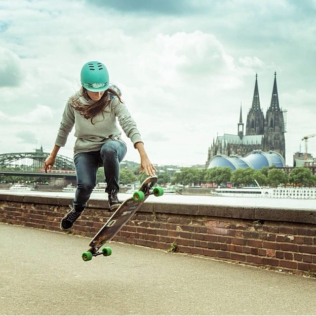 Repost from @valeriakechichian in Cologne - amazing shot! Photo: @mari_aprilfool #skatergirl #skateboarding #longboard #xshelmets #germany @girlsinlongboarding