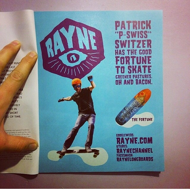 Boss man @patrickswitzer styling and making #ThrillMagazine smell better with some #babypowder scented pucks in this badass @raynelongboards ad! Boom