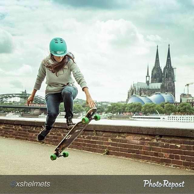 "Location, location, location. Epic backdrop. by @xshelmets ""Repost from @valeriakechichian in Cologne - amazing shot! Photo: @mari_aprilfool #skatergirl #skateboarding #longboard #xshelmets #germany @girlsinlongboarding"" #skate #skatelife #skateboard"