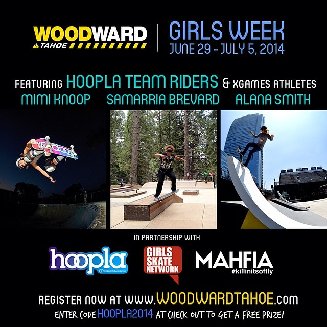 Our friends from @hooplaskate in partnership with @mahfia_tv & @girlsskatenetwork bring you the first Girl Skate Camp in WoodWard Tahoe, CA! Go to www.longboardgirlscrew.com and check all the details. A week learning from the best @knoopdogg...