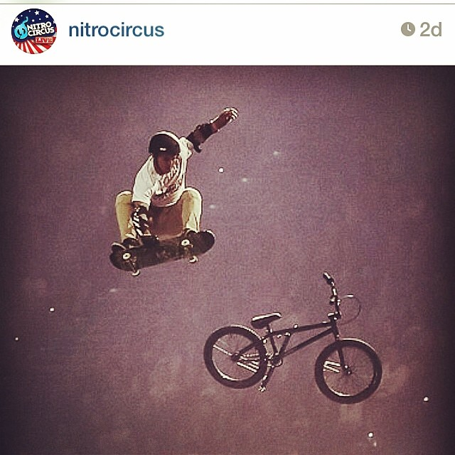 @gkc4life wears the #BULT X3 while doing a massive BMX to Skateboard transfer on the @nitrocircus mega ramp in Australia! #bulthelmets
