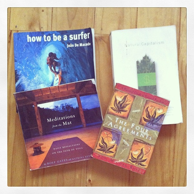 Some #requiredreading for #bodhi #surfers #howtobeasurfer #naturalcapitalism #meditationsfromthemat #fouragreements