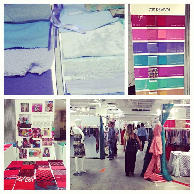More inspirational pictures from the textiles show yesterday. #lamarket #textiles  #recycledpolyester #ecofabrics #xtralifelycra #localhoneyswim #fall2014 #winter2015 #love #adventure #travel #swim #bikinis #reversible #inspiration #trends...