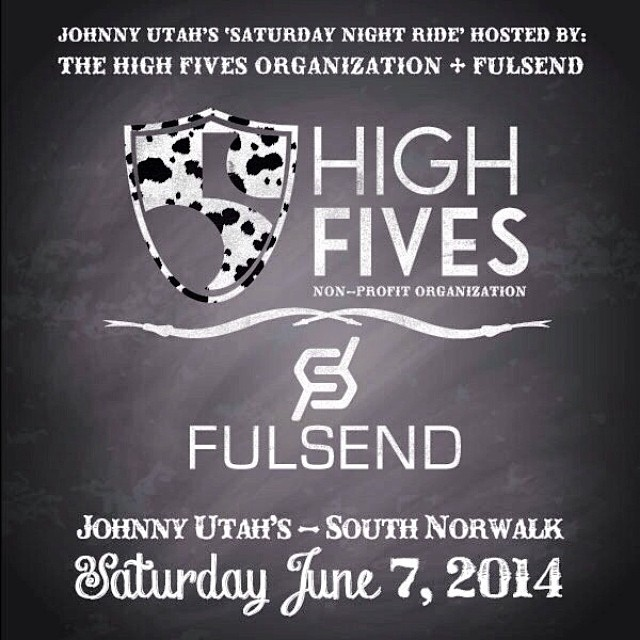 "Live in or near CT? Head to @johnnyutahssono on Sat. June 7th with @fulsend for the ""Saturday Night Ride"" in support of #HighFivesAthletes 