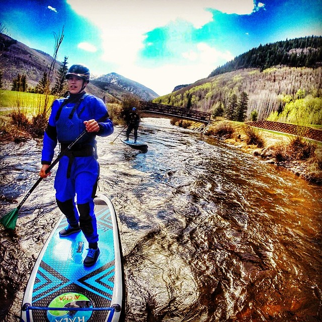 Early morning paddle on gore creek in vail colorado.