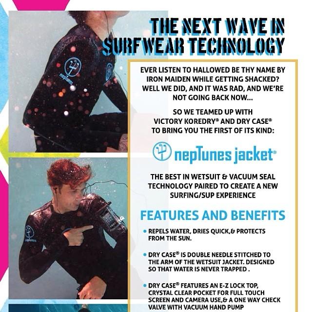 Change the way surfing sounds. NepTunes Jacket by BBR. #neptunesjacket #neptunes #wetsuit #wetsuitjacket #iphone #bbr #bbrsurf #buccaneerboardriders #surf #surfing #surfwear