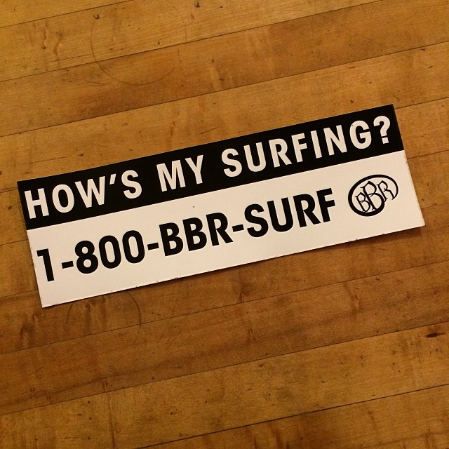 How's your surfing?  Let us know. New BBR bumper stickers. #howsmysurfing #bbr #bbrsurf #buccaneerboardriders #surf #surfing #surfwear #sticker #bumpersticker