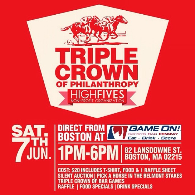 The Triple Crown of Philanthropy kicks off at 1pm (EST) Sat. June 7th at @blazingpaddlesboston Join this incredible event and support #HighFivesAthletes through the silent auction, raffle and triple crown of bar games! More info at highfivesfoundation.org