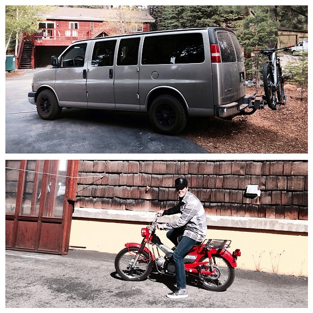 We got some new rigs in Tahoe. '03 awd Chevy van for flylowdan and a '72 Trail90 dirt bike for flylowgreg. High Rollin'. #heavychevy