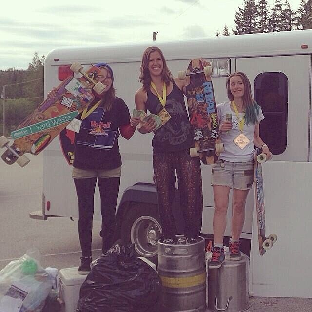 #jakesrash womens' podium! 1. @e_coree 2. @di_zzy_j 3. Charlie Cricket. Congrats ladies!! #longboardgirlscrew #girlswhoshred