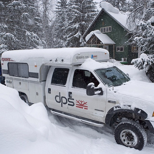 "#tbt to 2007 and the early years of #dpsskis. The trusty John C. Anderson on location in Haines, #AK. As DPS Founder Stephan Drake explains, ""this was the beginning of a ten-foot storm. We ended up running snowmobiles along the road for #travel and..."