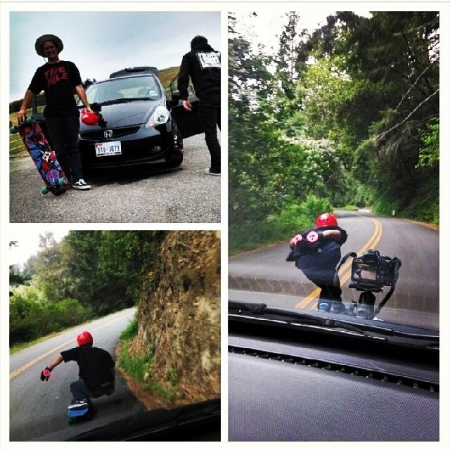 @malachigreene_ @fivemileskateboards @calibertrucks @s1helmets #filmingsesh #santacruz #freeride #skateboarding