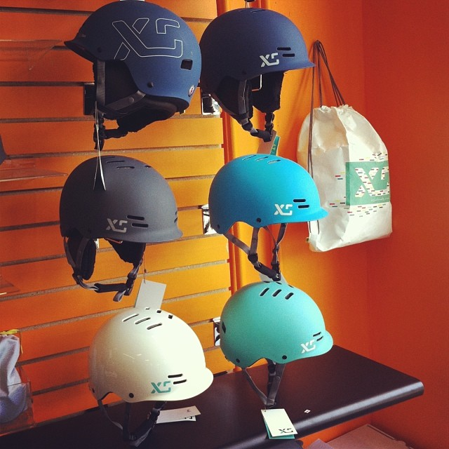 Shades of blue at @denmanbikeshop in #Vancouver #xshelmets #biketowork #urban #helmetsforgirls #skatebikeboardski