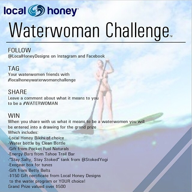 Calling all Surf/SUP/SUP yoga instructors and students! Spread the word and help someone win $150 toward classes at your yoga/sup/surf program. Only 1 week left in our #localhoneywaterwomanchallenge Tell us what being a #waterwoman means to you will be...