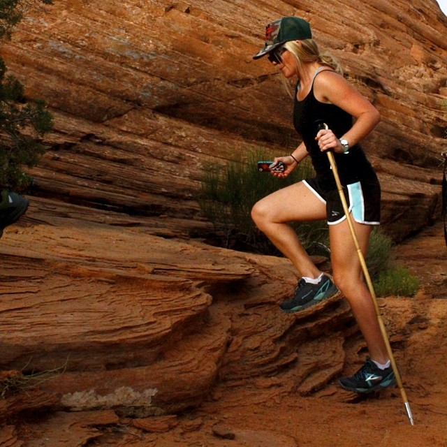 Support your stride.  @yaaaaddie, one foot in front of another in a passion-filled life // #Moab #plantyoursoul #trekkingpoles // PC: @mhundhammer