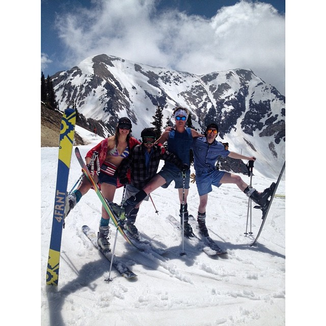 Jorts Club #springskiing #closingweekend #jorts #skiutah @4frnt_skis