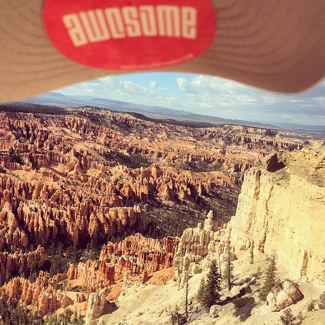 many miles away from the ocean. bryce canyon. @polerstuff cap trick:) #awesome #awesomesurfboards #nosurf#cap#utah#bryce