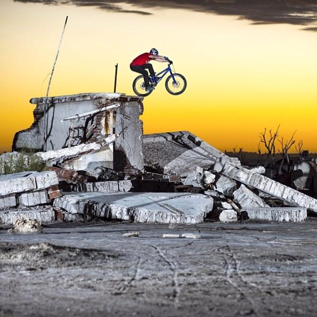Street #trials rider Danny MacAskill exploring #Epecuen, Argentina.