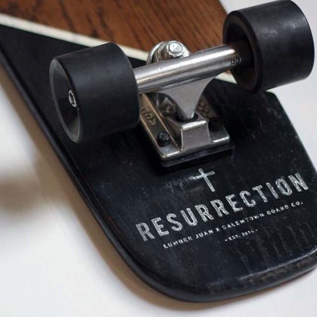 "Salemtown Board Co. has partnered with @lumberjuan  to create a limited edition run of skateboards entitled ""Resurrection."" Both the boards and shirts are available at salemtownboardco.com.  Go check them out!"