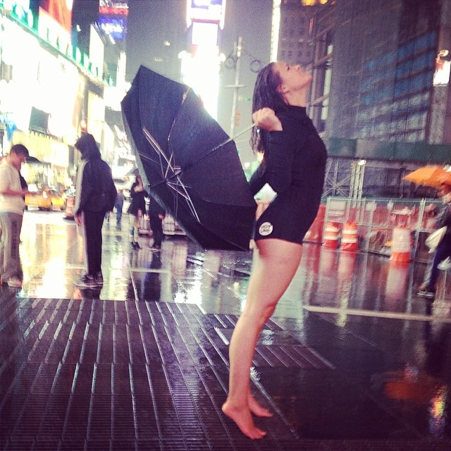 ~No need for umbrellas in NY when you've got your booty suit~ #HotlineWetsuits #TimesSquare #BootySuit #HumpDay #WhoCaresIfItsRaining #She