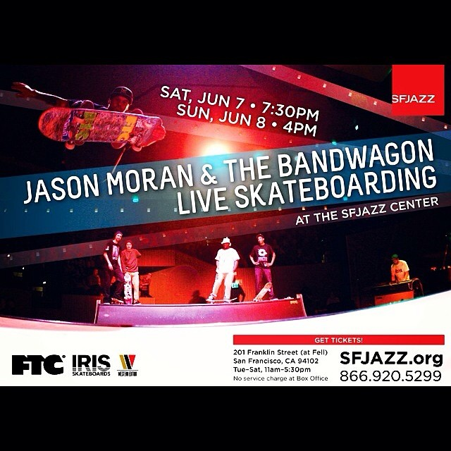 Live Jazz and skateboarding next weekend at SF Jazz! Don't miss it! #sfjazz #irisskateboards #ftcsf #jasonmoran