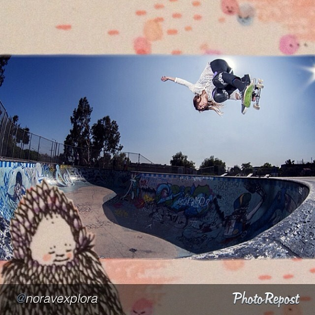 Nora Vasconcellos (@noravexplora), big 'ol Indy with art looking on. #skate #skateboarding #skateboard #skatelife
