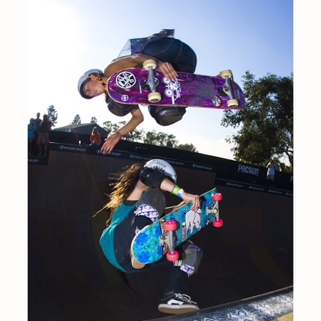 #ThrowbackThursday to #EXPOSURE2012 with @lizziearmanto playing doubles with @allyshabergado. #tbt #skateboarding #skate #skatelife #skatevert #vert #vertwillneverdie