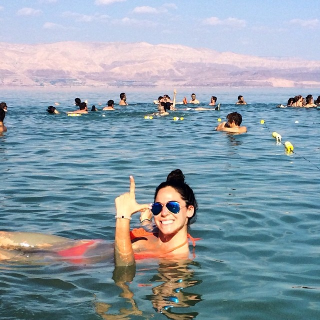 Shout out to a member of the lokai team who spent her day floating around in The Dead Sea with her lokai! ⚪️⚫️ #DeadSea #livelokai