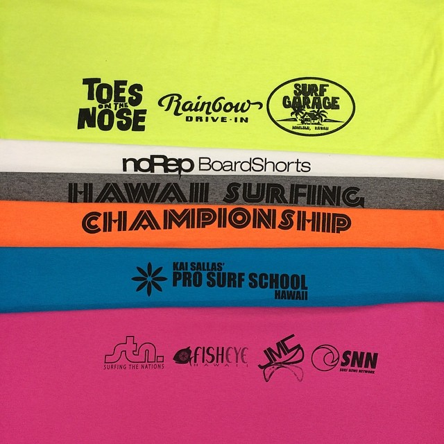 Just finishing the jerseys for the Hawaiian Surfing Championship this weekend at Kewalos! #norepboardshorts #hawaiisurfingchampionship #kewalos