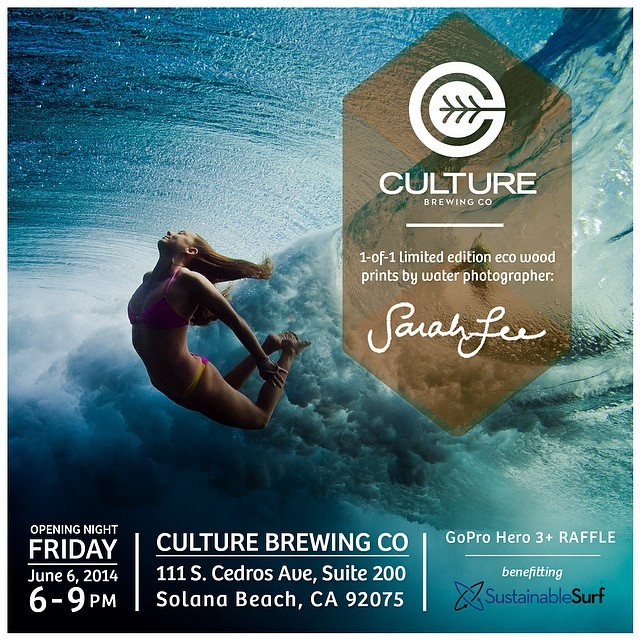 FRIDAY, JUNE 6 in SOLANA BEACH • limited edition (1 run only) resin+wood prints of my water photography (#gopro + dslr) exclusively at @culturebrewingco, june 6 - july 3 • non-profit beneficiary: @sustainsurf • stop by on opening night if you're in the...