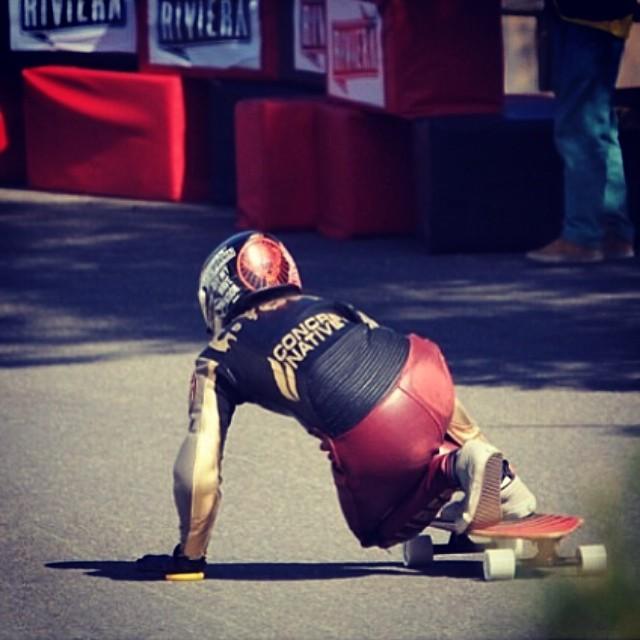 regram from @sk8namaste lookin killer at CIC2014. Coolest leathers ever. #concretenative #pushingforward #pusher #skatelife #sk8life #longboardlife #longboard #downhill #killinit