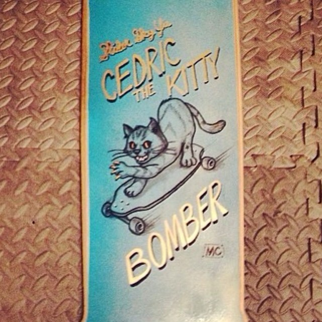 Team rider Michael Carson-- @mcarsonlikescats created this graphic for his friend @slidersky's skateboard.  Looks great!  #michaelcarson #bonzing #sanfrancisco #shapers #artists