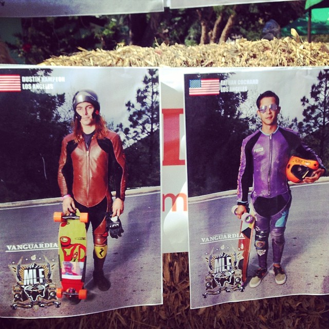 @ethancochard and #DustinHampton got some shnazzy racer posters printed at the #Mlf2014 #orangatang #loadedboards #badassadors