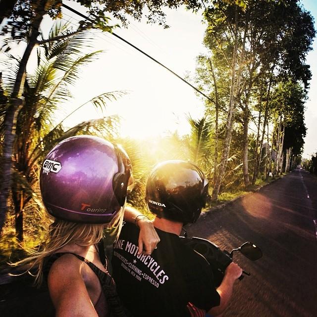 Motorbike Monday - Sunset cruising on the Bali backroads. From Honeymooners: @nich_nicholas and @rebeccahurley #balifornia #motorbikemonday #soleswithsoul