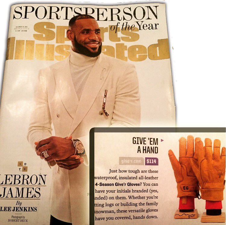 As 2016 came to a close, we couldn't have fathomed the possibility of our 4-Season Giver Gloves being featured in @sportsillustrated alas, we are blown away to have these bad boys alongside Lebron @kingjames Shout out to our ambassador @kelleyswiney...