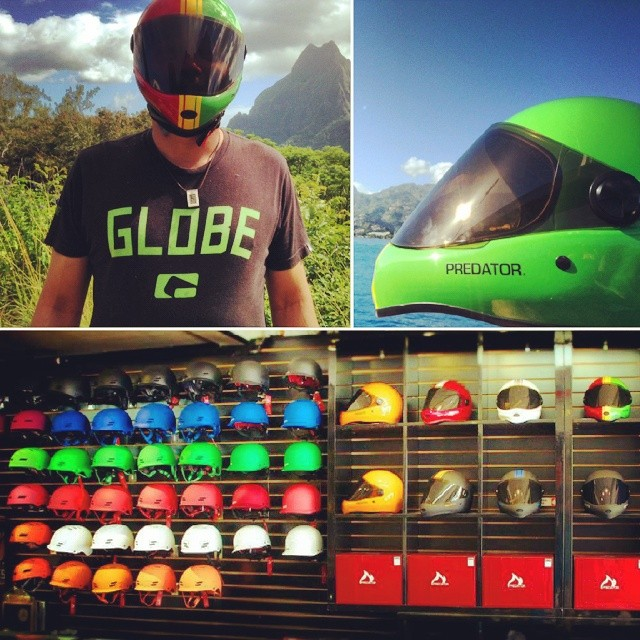 Sent to us from our friends at @globetahiti. Globe Tahiti is your one stop shop for anything long board related and of course the full line of Predator Helmets. Don't you wish you had those mountains outside your back door to skate? #DH6 #FR7 #Shiznit...