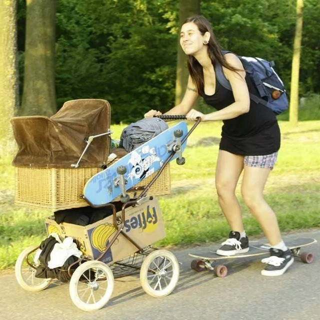 Motherhood done right by Kim Ofnietdan from The Netherlands. #longboardgirlscrew #girlswhoshred