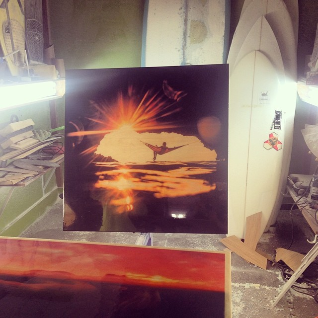 Stoked how the prints for #WallAtCulture are turning out! Photos printed directly on birch/recycled pressboard and glassed with Eco SuperSap resin by @etechboards.  Stop by Friday at @culturebrewingco in Solana Beachh to see them up!  #sarahleephoto...