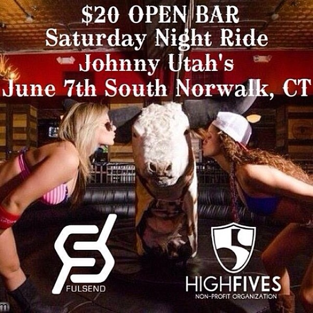 "Check out @fulsend for awesome lifestyle apparel and head to @johnnyutahssono on June 7th for the ""Saturday Night Ride"" fundraiser at 8pm! Ride the mechanical bull and support #HighFivesAthletes in the amazing silent auction. Details at..."