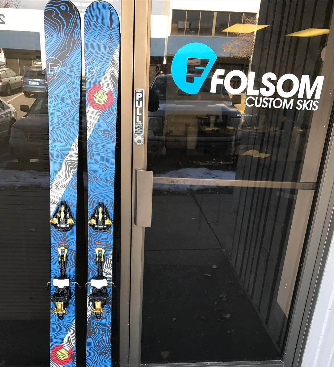 Bomber new touring setup for J. McKinley with graphics courtesy of @kinddesign. Come by the shop to get dialed in for the winter! #folsomskis #touring #skiuphill #earnyourturns #primary #kinddesign