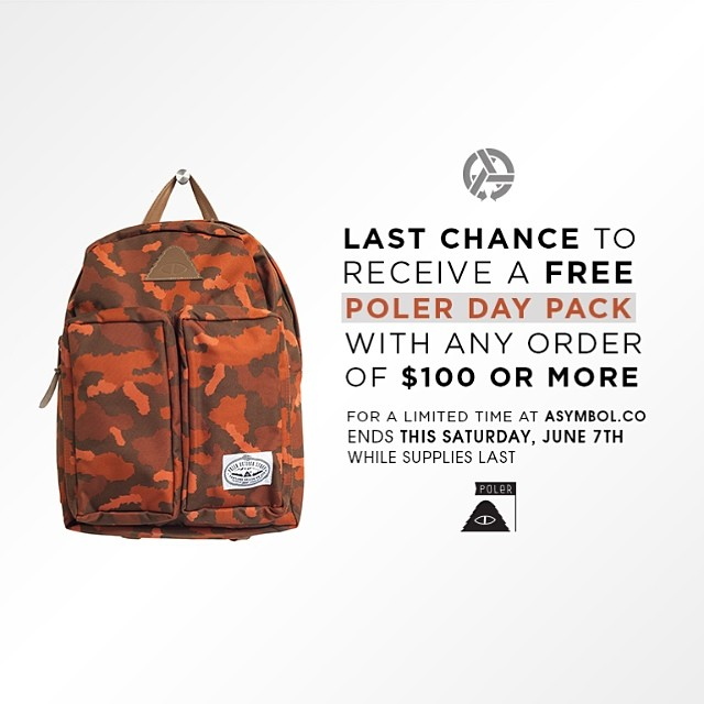 Ending this Saturday... Your chance to receive a free @polerstuff Day Pack with any order over $100 from www.asymbol.co #campvibes #goingfast