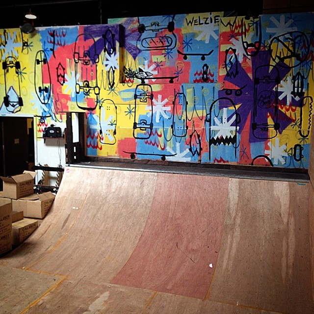 Thanks @welzie_art for the new wall. #calibertrucks #skatewall