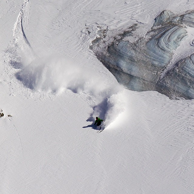 Flylow's Lars Chickering Ayers making some French powder look good last season. Photo: Guillou