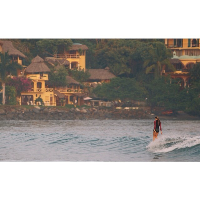 @_lucrecia_ enjoying a sunrise sesh in Sayulita wearing the new Del Mar 1mm Neoprene rash guard shot by @nick_lavecchia  #sayulita #mexico #sunrise #myseealife #seeadelmar