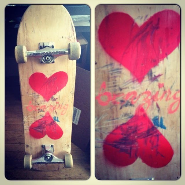 Bonzing baby! We love skateboards and we love you!  Team rider Yvonne Byers--@yvonzing prototype shape and artwork.  Have a great weekend!  Go skate!  #bonzing #yvonnebyers #prototype #sanfrancisco #shapers #artists