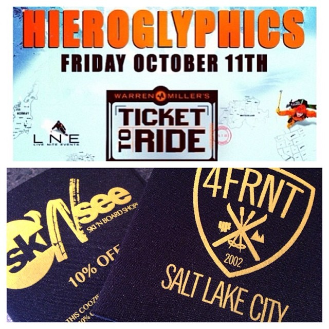 Win 2 Hieroglyphics concert tickets! Tomorrow in SLC, we are giving away coozies at the Concert good for 10% off 4FRNT Products at SLC's finest retailer, Ski N See. Simply share this post with #4frntcooziedeal and tag @4frnt_skis and @ski_n_see. We'll...